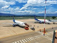 Boliviana de Aviación (BoA) is a state-owned company and the country's largest airline. Two BoA Boeing 737-300s parked at Jorge Wilstermann International Airport.