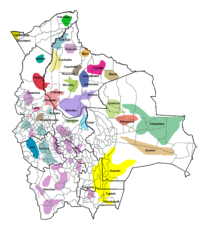 Geographic distribution of the indigenous languages of Bolivia