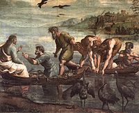 """After the miraculous catch of fish, Christ invokes his disciples to become """"fishers of men"""" by Raphael."""