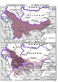 The division of the Ottoman territories in Europe (including the region of Macedonia) after the Balkan Wars according to the Treaty of Bucharest