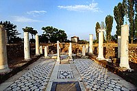 """Heraclea Lyncestis, a city founded by Philip II of Macedon in the 4th century BC; ruins of the Byzantine """"Small Basilica"""""""