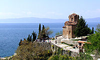 The church of St. John at Kaneo and Lake Ohrid, one of the most popular tourist destinations in North Macedonia