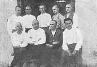 Members of the pro-Bulgarian Macedonian Youth Secret Revolutionary Organization (MYSRO) during the Skopje Student Trial in 1927. In December 20 local youths were accused of fighting for an Independent Macedonia.
