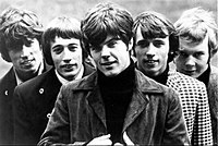 The Bee Gees in 1967 (left to right: Barry Gibb, Robin Gibb, Vince Melouney, Maurice Gibb and Colin Petersen)
