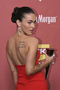 Fox in October 2007, with two of her tattoos visible