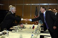 Former CIA director Robert Gates meets with Russian Minister of Defense and ex-KGB officer Sergei Ivanov, 2007