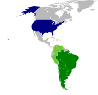 Operation Condor participants. Green: active members. Blue: collaborator (United States).