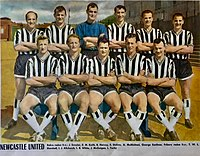 """Newcastle United F.C. in 1960 with this players – from the left, standing: James """"Jimmy"""" Scoular, Richard Matthewson """"Dick"""" Keith, Bryan Harvey (goalkeeper), Bob Stokoe, Alf McMichael and George Eastham; crouched: """"Terry"""" W. L. Marshall, Ivor Allchurch, Len White, John McGuigan and Liam Tuohy."""