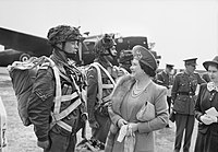 The Queen and Princess Elizabeth talk to paratroopers preparing for D-Day, 19 May 1944
