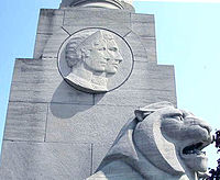 The Queen Elizabeth Way Monument, near Toronto, with a bas-relief of Queen Elizabeth and King George VI