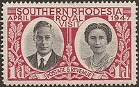 Southern Rhodesian stamp celebrating the 1947 royal tour of Southern Africa