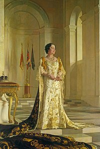 Portrait by Sir Gerald Kelly. Her crown is on the left.
