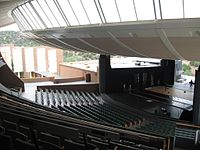 Interior of the Crosby Theater at the Santa Fe Opera, viewed from the mezzanine