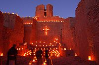 Luminarias in the old mission church, Jemez State Monument