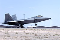 An F-22 Raptor flown by the 49th Fighter Wing at Holloman AFB