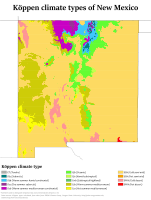 Köppen climate types of New Mexico