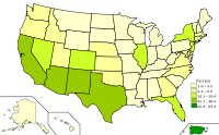 Spanish spoken in the United States and Puerto Rico. Darker shades of green indicate higher percentages of Spanish speakers.
