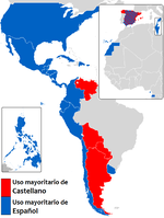 Map indicating places where the language is called castellano (in red) or español (in blue)