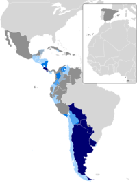 An examination of the dominance and stress of the voseo dialect in Hispanic America. Data generated as illustrated by the Association of Spanish Language Academies. The darker the area, the stronger its dominance.