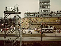From 1957 to 1998, the IMS Radio Network booth was on the second floor of the Master Control Tower.