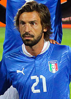 Pirlo with Italy in 2012. He is the fifth most capped player in the history of the Azzurri with 116 appearances between 2002 and 2015.