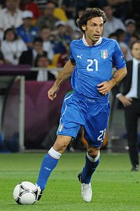 Andrea Pirlo playing for Italy against England in quarter final of Euro 2012