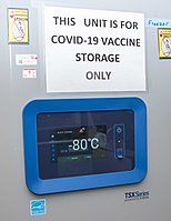 Temperature the Pfizer vaccine must be kept at to ensure effectiveness, roughly between -80 and -60 C
