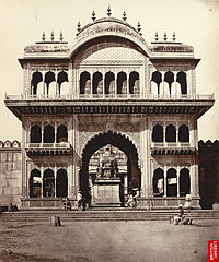 Gate of Shet Lukhmeechund's Temple, a photo by Eugene Clutterbuck Impey, 1860s.
