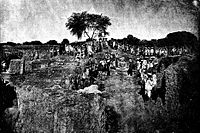 General view of the excavations in January 1889 at Kankali Tila, Mathura