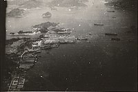 The harbor at Nagasaki in August 1945 before the city was hit with the atomic bomb
