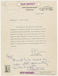Memorandum from Groves to Marshall regarding the third bomb, with Marshall's hand-written caveat that the third bomb not be used without express presidential instruction.