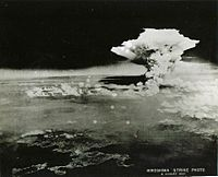 """For decades this """"Hiroshima strike"""" photo was misidentified as the mushroom cloud of the bomb that formed at c. 08:16. However, due to its much greater height, the scene was identified by a researcher in March 2016 as the firestorm-cloud that engulfed the city, a fire that reached its peak intensity some three hours after the bomb."""