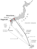 The mission runs of August 6 and 9, with Hiroshima, Nagasaki, and Kokura (the original target for August 9) displayed