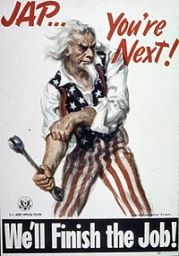 U.S. Army propaganda poster depicting Uncle Sam preparing the public for the invasion of Japan after ending war on Germany and Italy