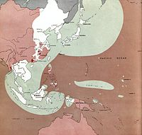 Situation of the Pacific War on August 1, 1945. Areas still controlled by Japan (in white and green) included Korea, Taiwan, Indochina, and much of China, including most of the main cities, and the Dutch East Indies. Allied-held areas are in red, with the neutral Soviet Union and Mongolia in grey.