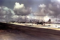 Aircraft of the 509th Composite Group that took part in the Hiroshima bombing. Left to right: Big Stink, The Great Artiste, Enola Gay