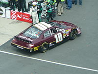 Kelly Bires pulls the #10 Braun Racing Toyota in to the garage at the Scotts Turf Builder 300 at Bristol