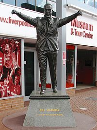 Statue of Bill Shankly outside Anfield. Shankly won promotion to the First Division and the club's first league title since 1947.