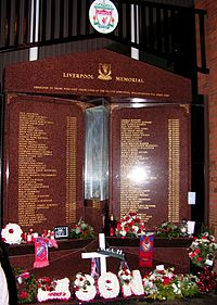 The Hillsborough memorial, which is engraved with the names of the 96 people who died in the Hillsborough disaster.