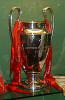 The European Cup trophy won by Liverpool for a fifth time in 2005
