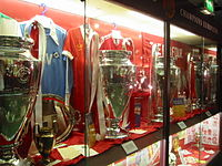 Replicas of the four European Cups Liverpool won from 1977 to 1984 on display in the club's museum