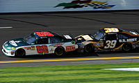 Ryan Newman tandem racing with Dale Earnhardt Jr. during the 2011 Gatorade Duels at Daytona