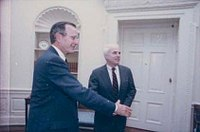 President George H. W. Bush meets with McCain, 1990