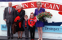 The 1992 christening of at Bath Iron Works, with his mother Roberta, son Jack, daughter Meghan, and wife Cindy