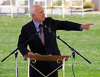 McCain speaks in Albuquerque, New Mexico, on Memorial Day, 2008, while wearing his Purple Heart.