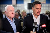 McCain campaigning with former Governor Romney in Mesa, Arizona, during his 2016 re-election campaign
