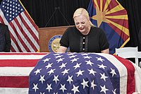 McCain's daughter Meghan mourning while he lies in state at the Arizona State Capitol