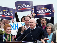 McCain formally announces his candidacy for president in Portsmouth, New Hampshire, 2007.