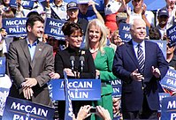 The Palins and McCains campaign in Fairfax, Virginia, following the 2008 Republican National Convention on September 10.