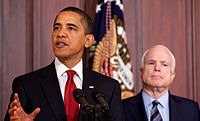 U.S. President Barack Obama and McCain at a press conference in March 2009